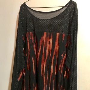 Black and Flames Blouse